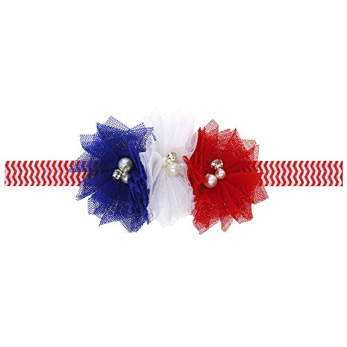 Flowers Headband for Newborn Baby Boys Girls,Newborn Baby Girls 4th of July Star Stripe Flowers Elastic Hairband Headband (A)