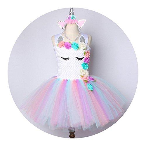 Flower Tutu Dress Pastel Rainbow Princess Birthday Party Dress Costume 1-14Y,Dress with Headband,8