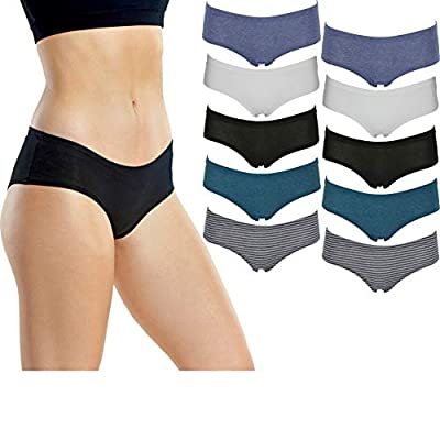 Emprella Women's Boyshort Panties (10-Pack) Comfort Ultra-Soft Cotton Underwear