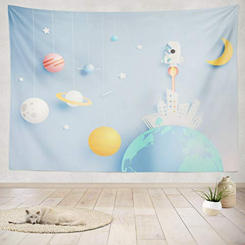 ASOCO Tapestry Wall Handing Paper Rocket and Solar System Paper Art with Pastel Tone Background Wall Tapestry for Bedroom Living Room Tablecloth Dorm 60X60 Inches by ASOCO