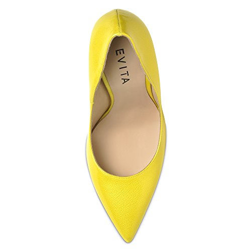 Mia Mujer Pumps lacado con relieve amarillo