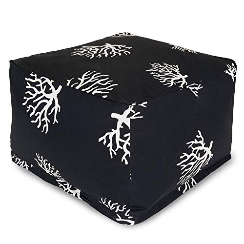 Majestic Home Goods Black Coral Ottoman, Large