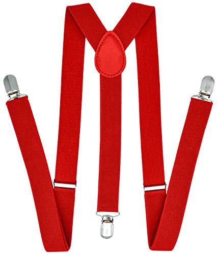 Trilece Suspenders for Men & Women - Adjustable Elastic Y Back Style Suspender - Strong Clips (Red)