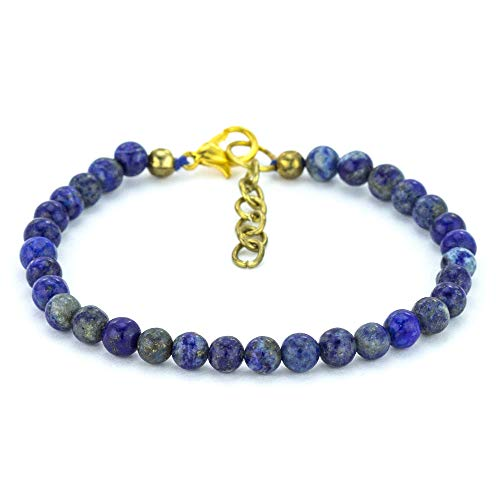 (Mystic Self Natural Handmade Beaded Women's Jewelry Genuine Semi Precious Gemstone Lapis Lazuli Royal Blue)