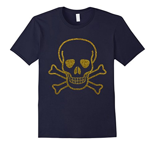 Mens Fancy Gold Skull & Cross Bones t-shirt Fun Golden Skeleton Small Navy