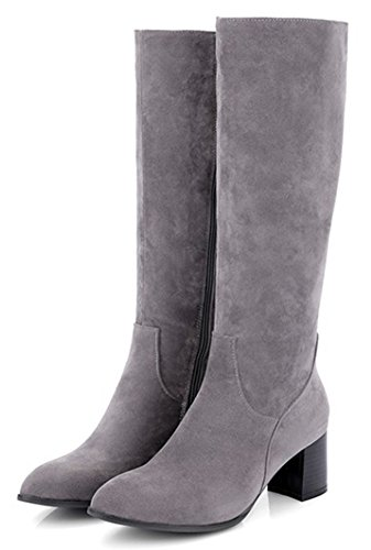 IDIFU Womens Classic Pointed Toe Mid Chunky Heels Side Zip Up Faux Suede Knee High Booties Gray p539rERpQW