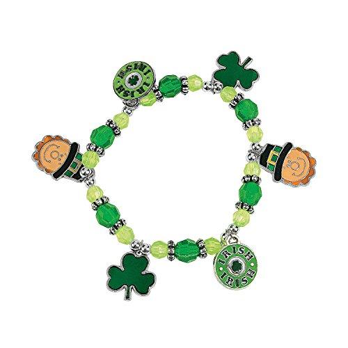 Fun Express St. Patrick's Day Charm Bracelet Craft Kit Craft Kits - Kids Jewelry Craft Kits - Makes 12 Charm Bracelets