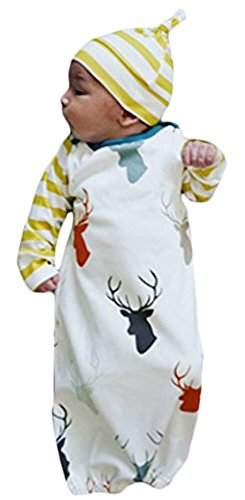 - Newborn Baby Coming Home Outfit Stripe Long Sleeve Deer Print Gown Sleepwear+Hat Size 0-6 Months/60 (White)