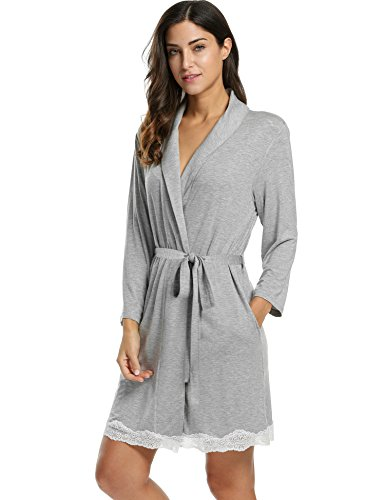 Avidlove Womens Bathrobe Soft Kimono Cotton Knit Robe Lace Trim Sleepwear,Gray,Small