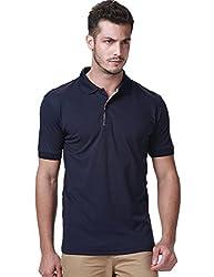 SSLR Men's Short Sleeve Classic Solid Polo Shirt (Small, Navy)