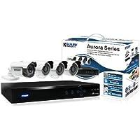 KGUARD SecurityInc. AR421-CKT001-500GB Aurora Series Home Security System 4 Channel QR Cloud 960H DVR with 1x 800TVL Auto Tracking 3x 700TVL Cameras 500G HDD (Black)
