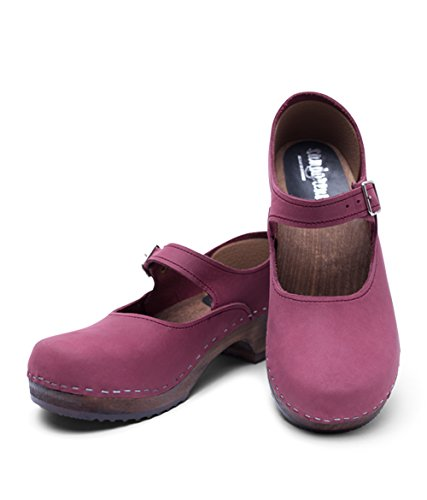 Low Upper Leather Women Heel Jane Mary Wooden Swedish Sandgrens Clogs Berry 4cW1B5pn