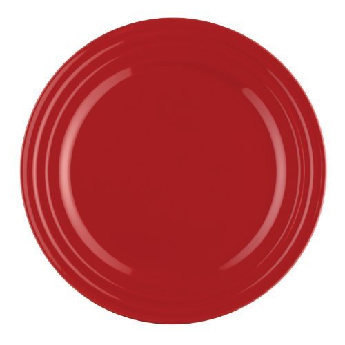Rachael Ray Dinnerware Double Ridge 4-Piece Stoneware Dinner Plate Set, Red (4 Solid Rim Dinner Plates)
