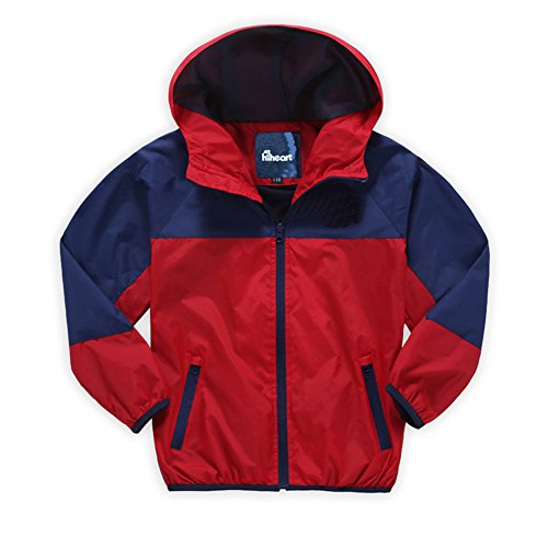 Hiheart Boys' Hooded Lightweight Jacket Quick Dry Windproof Skin Coat Red (Boys Lightweight Hooded Jacket)