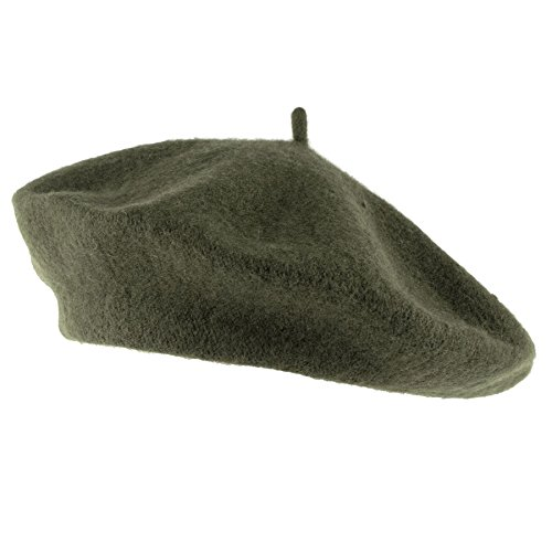 Hat To Socks Wool Blend French Beret for Men and Women in Plain Colours (Khaki)