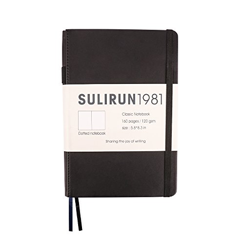 SULIRUN1981 Thick A5 Notebook with 120gsm Ivory Paper Classic Hardcover Dot Grid Notebook with Pocket Banded Pen Loop, 160 Pages, 5.8 X 8.3 in, Black