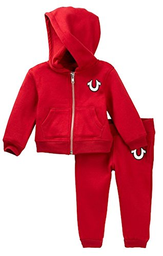 Hooded Sweatshirt Sweatpants - True Religion Buddha Hoodie & Sweatpants Set Baby and Toddler Boy's (Red, 12 Months)