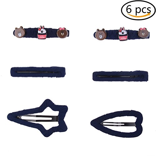 6Pcs Cute Design Hair Clips Metal Barrettes with Acrylic Cartoon Patterns for Baby Girls Teenager Girls, Navy Blue
