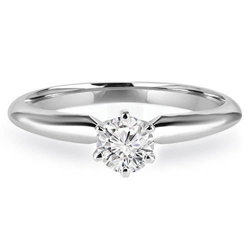 Diamant Solitaire 1/3carats Sterling Fiançailles Bague de promesse en or blanc 10K (md160237)