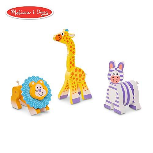- Melissa & Doug First Play Safari Grasping Toys (3 Wooden Animal Toys)