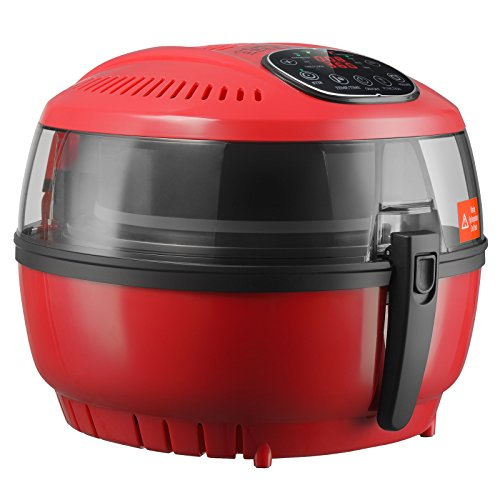 7 4Qt Red Xl Oilless Air Fryer Kuppet 8 In 1 Digital Hot Air Fryer With Basket Timer Temperature Control 8 Cooking Presets Included Recipe Guide  Anti Hot Clip  Stirring Parts 1700W