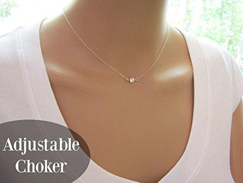Adjustable Tiny Sparkling CZ Choker Necklace - Sterling Silver Dainty Everyday Simple Jewelry - Diamond Alternative Gift For Her