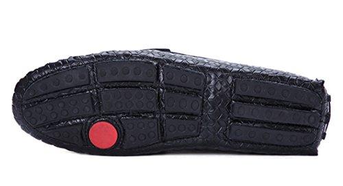 Tda Mens Moderna Tryckt Läder Tillfällig Körning Loafers Båt Skor Svart