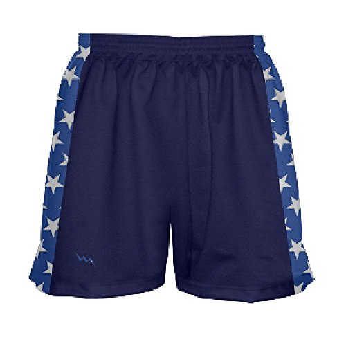 Youth Girls Navy Blue and Stars Lacrosse Shorts Youth Large, Blue ()