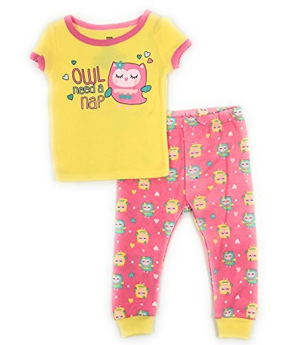 - Baby and Toddler Girls Snug Fit Graphic Pajama Shirt and Pants Two-Piece Set (12 Months, Owl Need a Nap)
