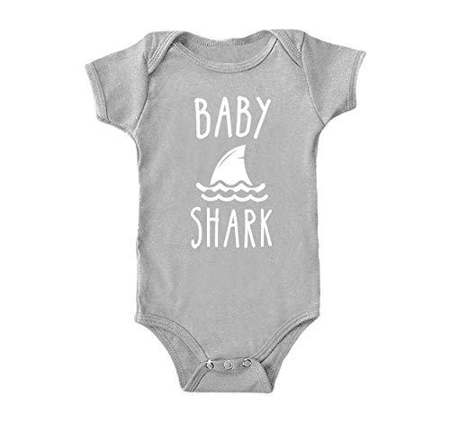(Infant Baby Onesie in Grey-18M- Baby Shark Design Gray)