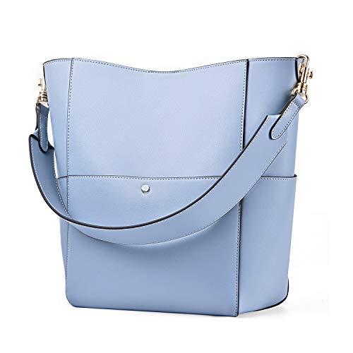 - Kattee Women's Cowhide Leather Tote Shoulder Bag Hobo Handbag Shoulder Bucket Bag (Light Blue)