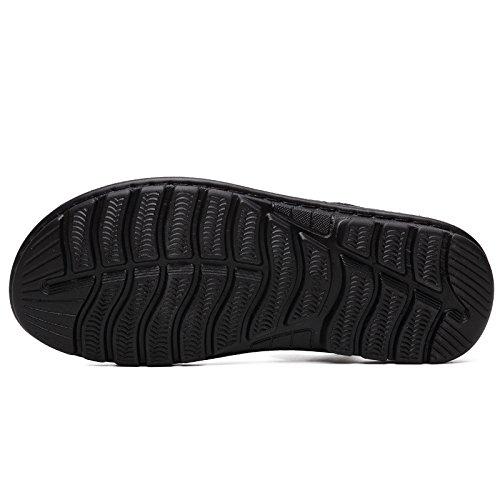 Sandali di estate delle nuove donne della spiaggia dei sandali Soft Bottom uomini quotidiani Pantofole Uomini Scarpe da spiaggia Sandali di ventilazione dermica, Nero, UK = 8, EU = 42