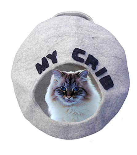 TWIXIE-PIXIE Premium Luxury Felt Cat Cave Bed (Large) -Handmade with Soft 100% Merino Wool -Keeps Warm in the Winter and Cool in the Summer -Thick Firm Shape -Included Felt Ball Cat Toy and Travel Bag (My Cat Keeps Playing In The Litter Box)