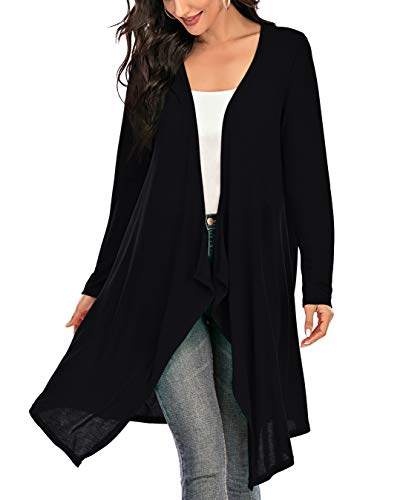 Women Cardigan 3/4 Sleeve Drap Cardigan Open Front Cardigan Lightweight Knit Cardigan Lounge Coat Outwear Coverup (Black, X-Large)