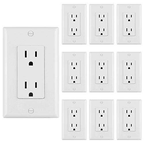 [10 Pack] BESTTEN 15A Standard Decor Outlets with Wall Plates, Decorative Duplex Electrical Receptacle and Covers, Residential and Commerical Grade, Self-Grounding, UL Listed, (White Duplex Outlet)