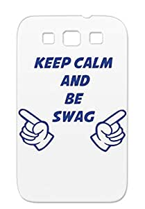 Keep Calm And Be Swag FASHION Shockproof For Sumsang Galaxy S3 Navy King Hipster Funny Quotations Cool GLOVE HAND Case