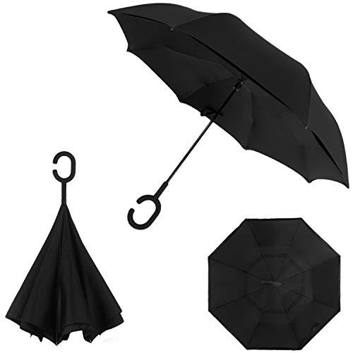 d9f74faf2cae HOFAN Automatic Close Inverted Umbrella with C-Shape Handle, Double ...