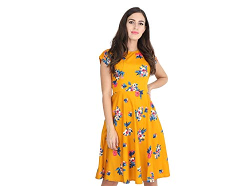 RUDRAKRITI Women Yellow Knee Length Dress