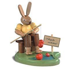 Easter bunny, male, fisherman on pond, height 8 cm / 3 inch, coloured, original Erzgebirge by Mueller Seiffen