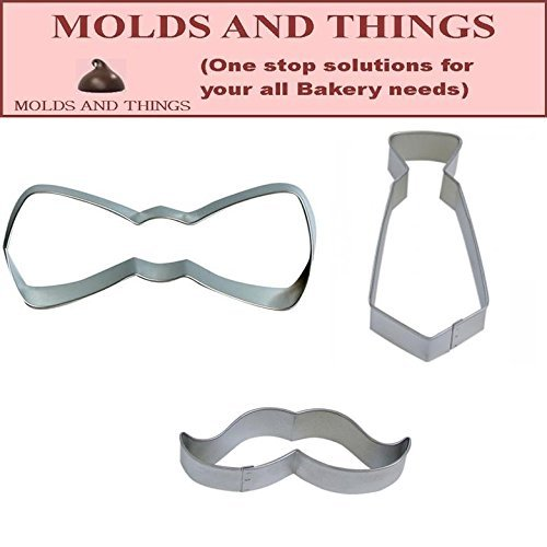 Mustache Necktie and Bow Tie Cookie Cutter Set for Father's (Fathers Day Tin)