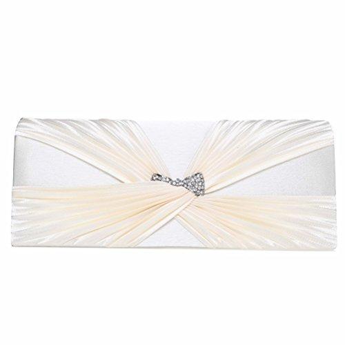 FASHIONROAD Evening Clutch, Womens Satin Crystal Bow Clutch Purse, Elegant Bridal Prom Handbag Beige