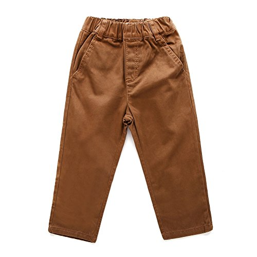 SNOW DREAMS Boys Cotton Pants Casual Elastic Waist Solid Color Loose School Uniform Trousers Dark Coffee Size 6