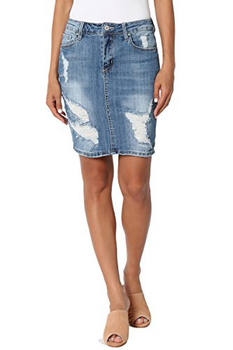 TheMogan Women's Distressed Ripped Stretch Jean Mini Short Denim Skirt Medium S