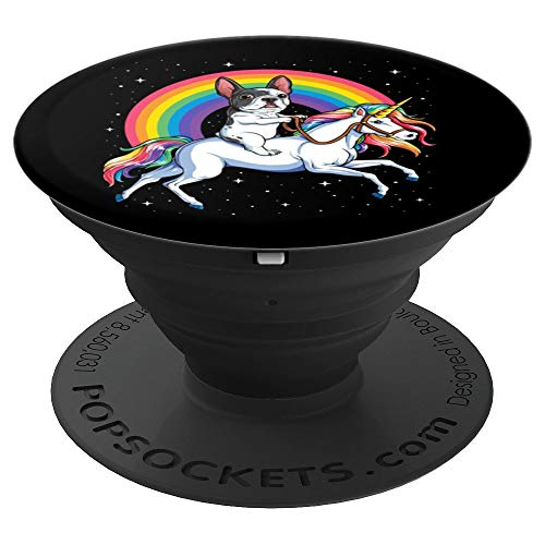 French Bulldog Unicorn Cute Dog Black Gift Men Space Galaxy - PopSockets Grip and Stand for Phones and Tablets