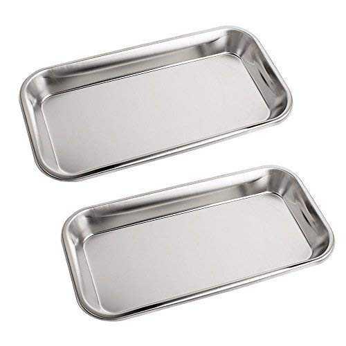 2 Pack Stainless Steel Instrument Tray For Dental Tool Lab Instrument Useful by Carejoy