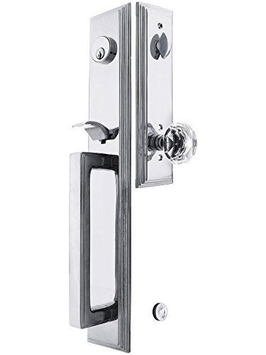 Melrose Style Tubular Handleset in Polished Chrome with Diamond Knobs and 2 3/8