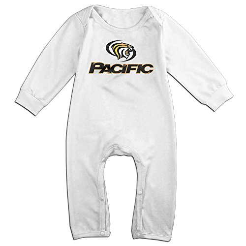 Dara University Of The Pacific Tigers NewBorn Long Sleeve Romper Bodysuit Outfits White 6 M