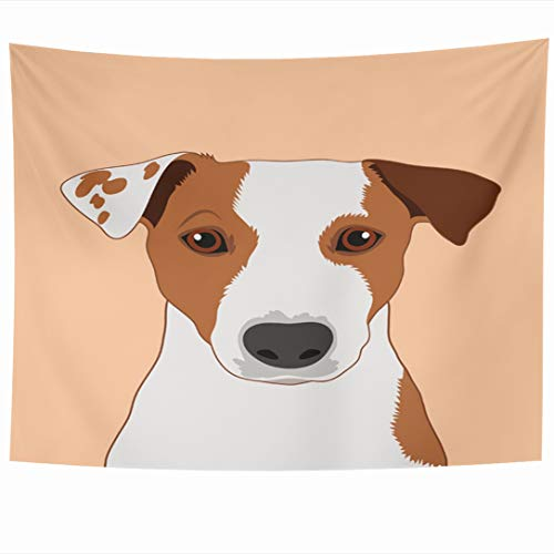 - Ahawoso Tapestry 80 x 60 Inches Howl Face Jack Russell Terrier Buddy Outline Dog Abstract Head Bark Graphic Design Wall Hanging Home Decor Tapestries for Living Room Bedroom Dorm