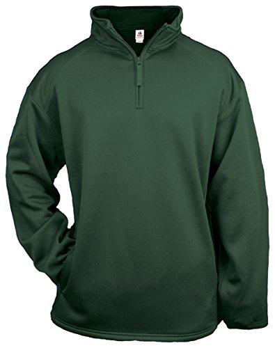 Badger 1/4 Zip Poly Fleece Pullover - Forest Green - (1/4 Zip Adult Pullover)