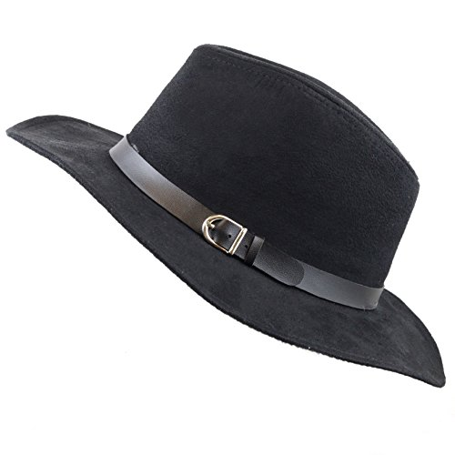 THE HAT Depot 200 Suede Panama with Pu Band Decorate Fedora Hat (Black)